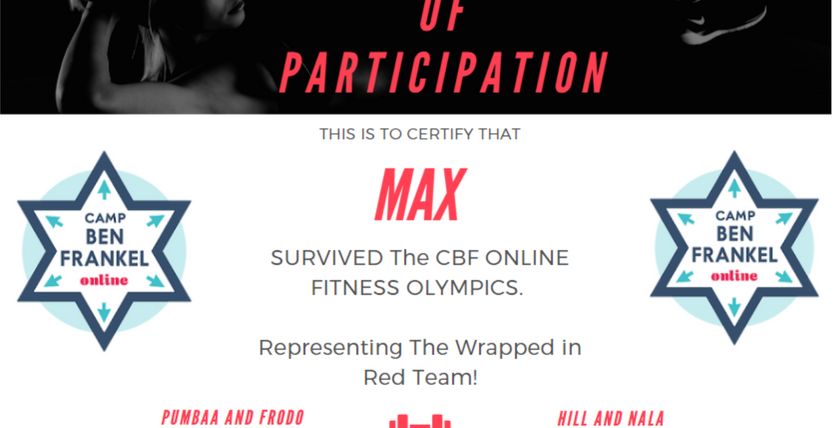 Max's Certificate of Participation
