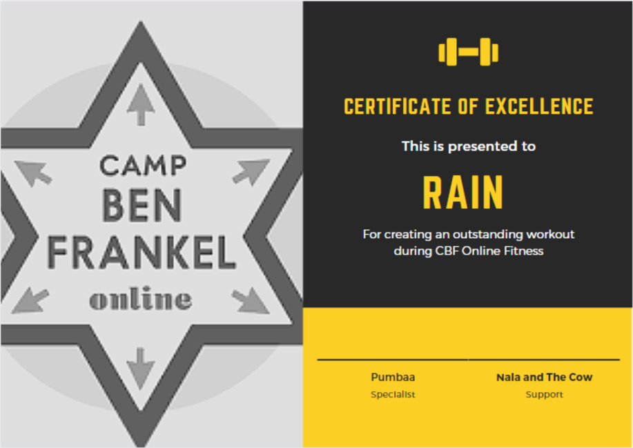 Rain - Certificate of Excellence