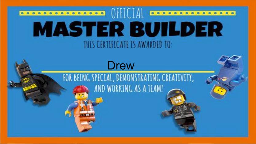 Lego Challenges - Drew's Master Builder Certificate