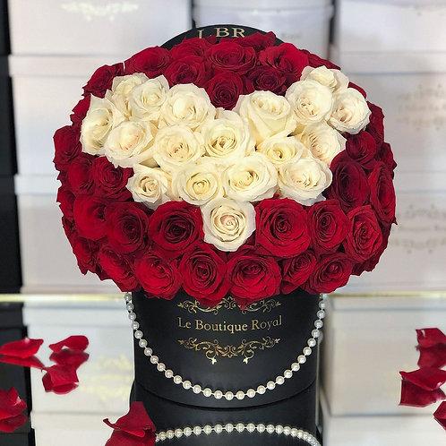 Signature 75 White Heart Rose Box