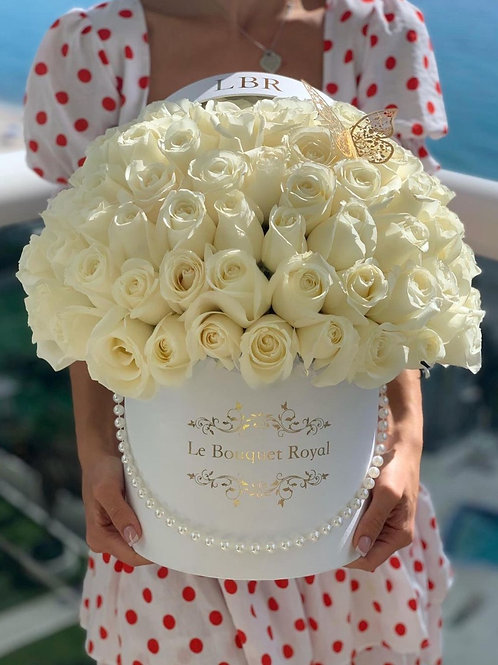 Signature White Rose Box with Butterfly