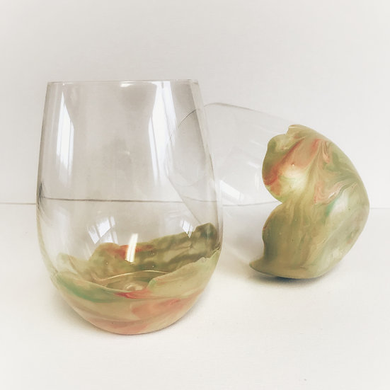 Sage, Cream, and Rose Marbeled Wine Tumbler