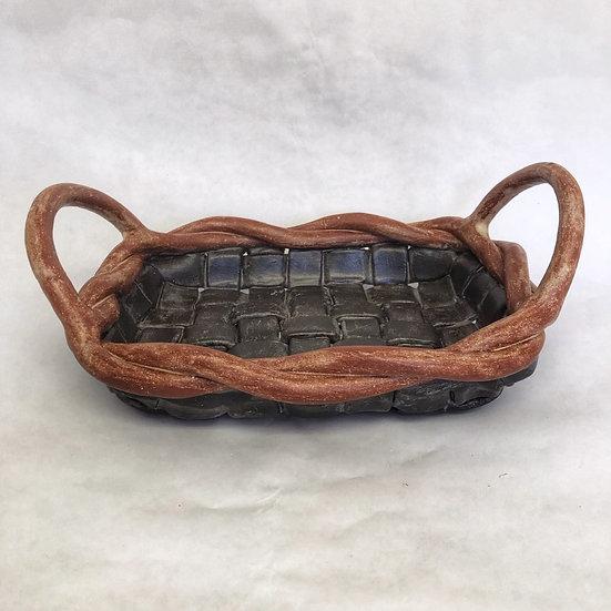 Rectangular Basketweave with Handles Black/Brown