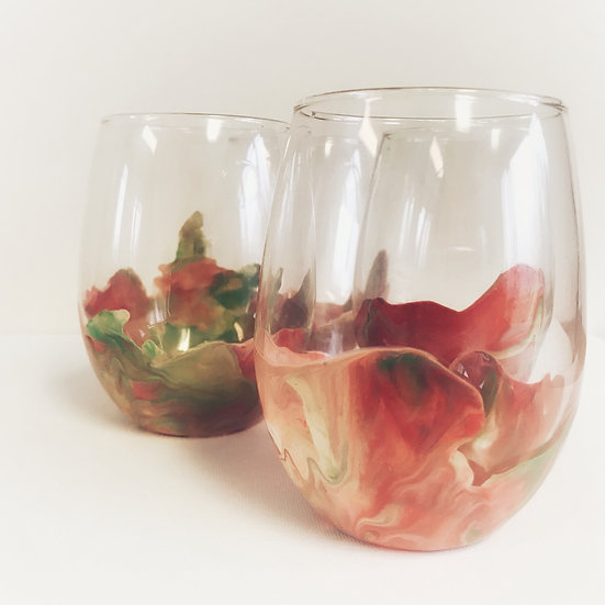 Green, Red, and Cream Marbeled Tumbler