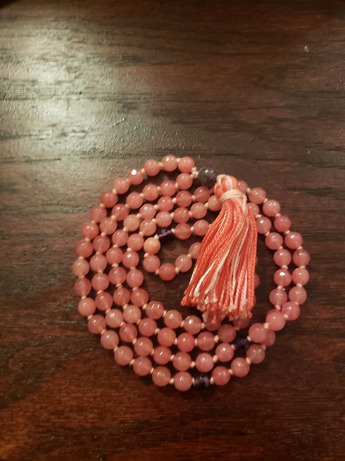 Light Red Jade and Amethyst Mala