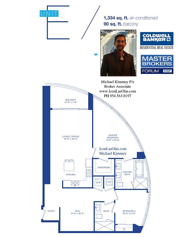 E Floor Plan at Icon Las Olas, 500 East Las Olas Blvd, Ft Lauderdale, FL 33301