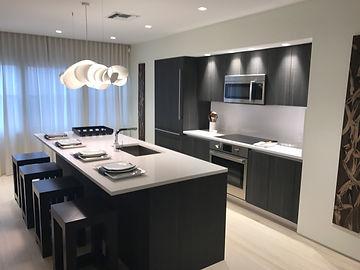 This is the model kitchen setup for Icon Las Olas.  Quartz countertops and Bosh and Sub-Zero appliances.