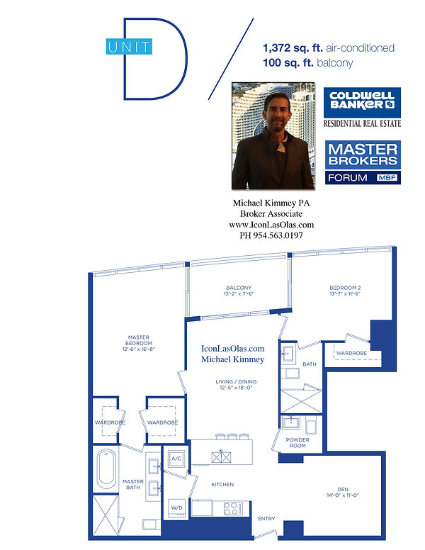 D Floor Plan at Icon Las Olas, 500 E Las Olas Blvd, Ft Lauderdale, FL 33301