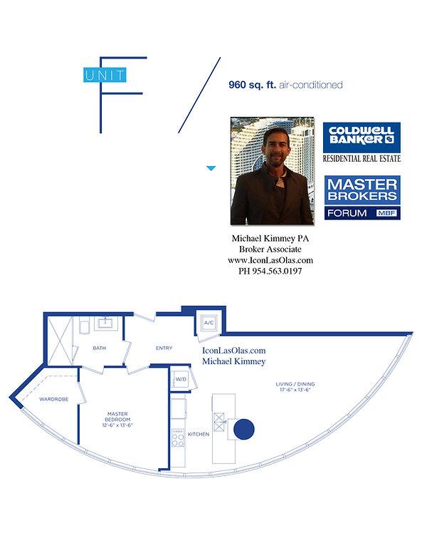 F Floor Plan at Icon Las Olas, 500 East Las Olas Boulevard, Fort Lauderdale, Florida 33301
