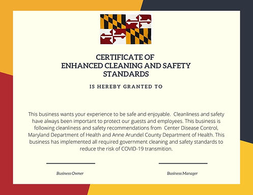 Certificate of  Enhanced Cleaning and Sa