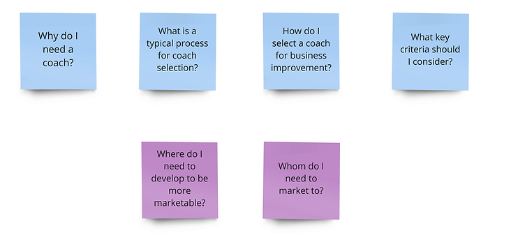 Business Coach selection framework questions