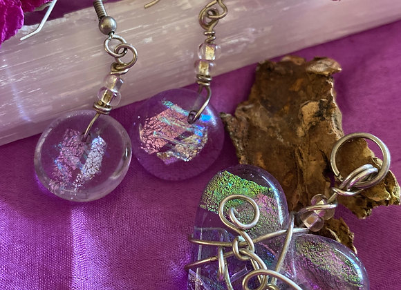 Dichroic Glass Jewellery Pendant and Earrings