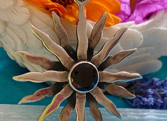 Garnet Pendant set in stirling silver