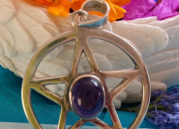 Pentagram with Amethyst on Stirling Silver