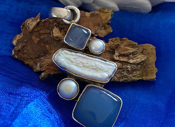 Pearl, Shell & Chalcedony Pendant in stirling silver