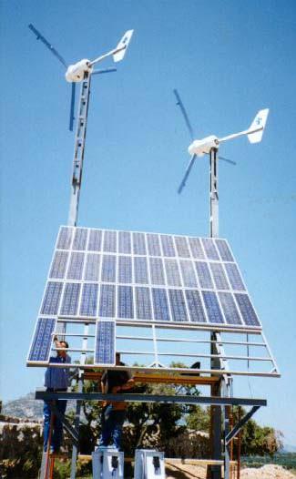 Ejemplo de aerogenerador y planta fotovoltaíca