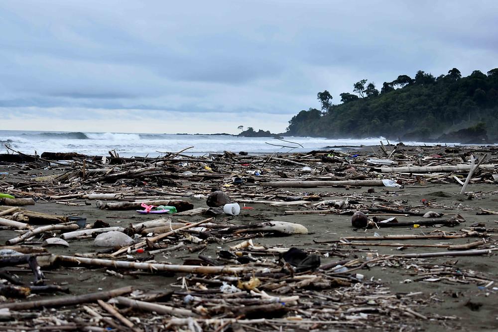 Playa El Almejal en El valle (Bahía Solano) después de una fuerte marea
