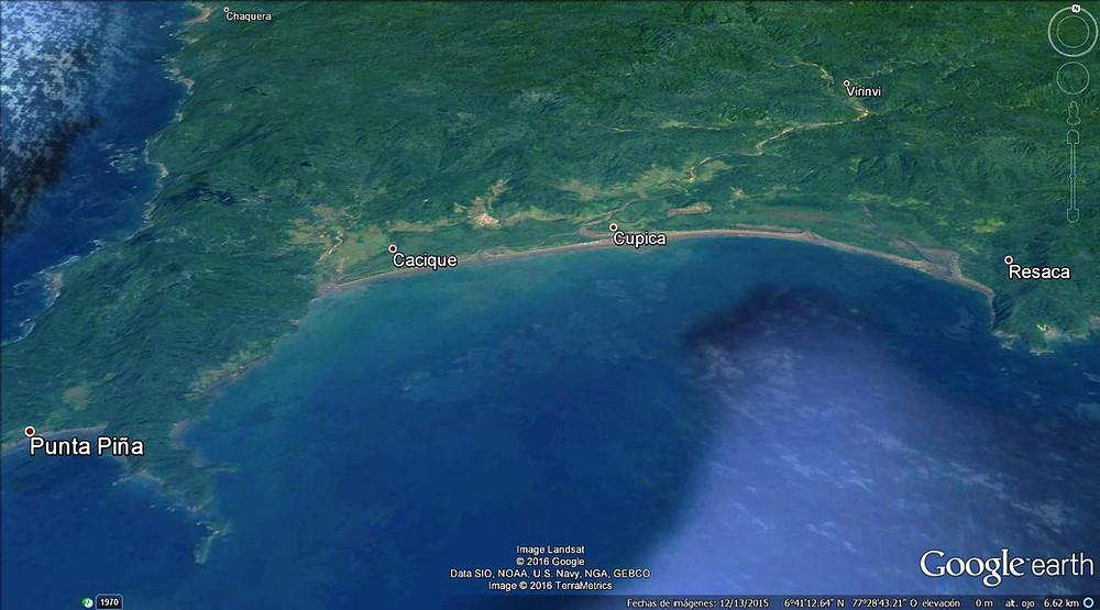 Imagen satelital de la bahía de Cupica- corregimiento de Bahía Solano
