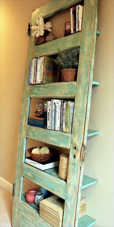 Upcycling salvaged doors | bookshelf & shelving unit