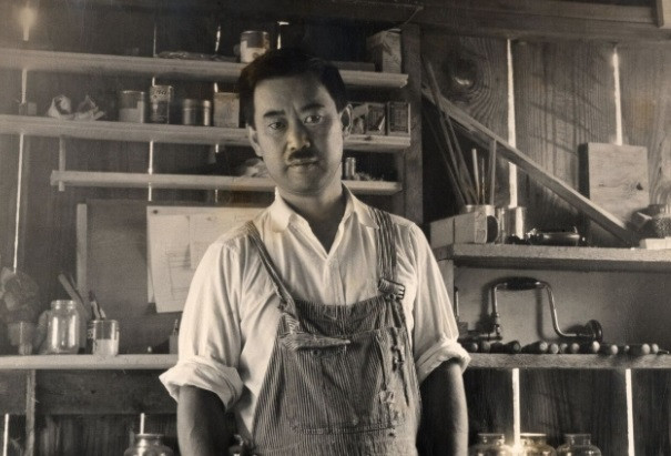 A young George Nakashima in his early shop