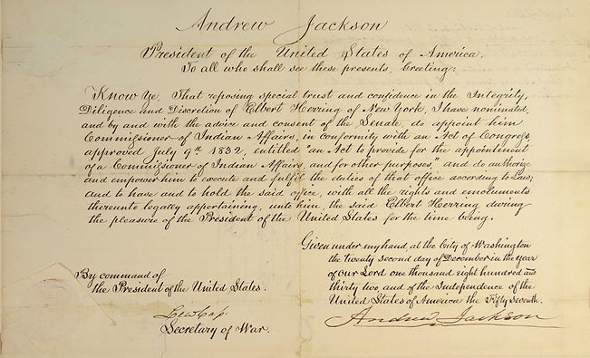 Andrew Jackson, 7th US President, important signed document creating the position of Commissioner of Indian Affairs