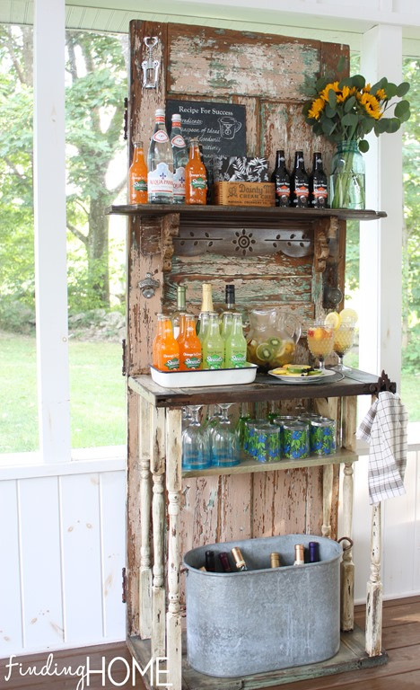 Upcycling salvaged doors | bar & beverage center