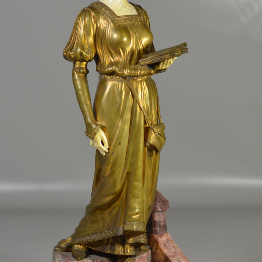 D(ominique) Alonzo, French, early 20th c, bronze, marble and carved ivory sculpture, c 1900-1910, Lady with Book Descending Steps
