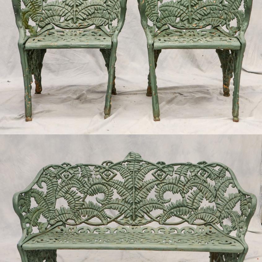 """3-Piece cast iron Victorian garden furniture set, fern & blackberry design, settee 54"""" w x 33"""" h, armchairs 24"""" w x 32"""" h"""