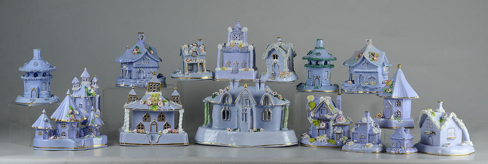 16 Staffordshire pastille burners, lilac porcelain cottages with floral & moss applied decoration