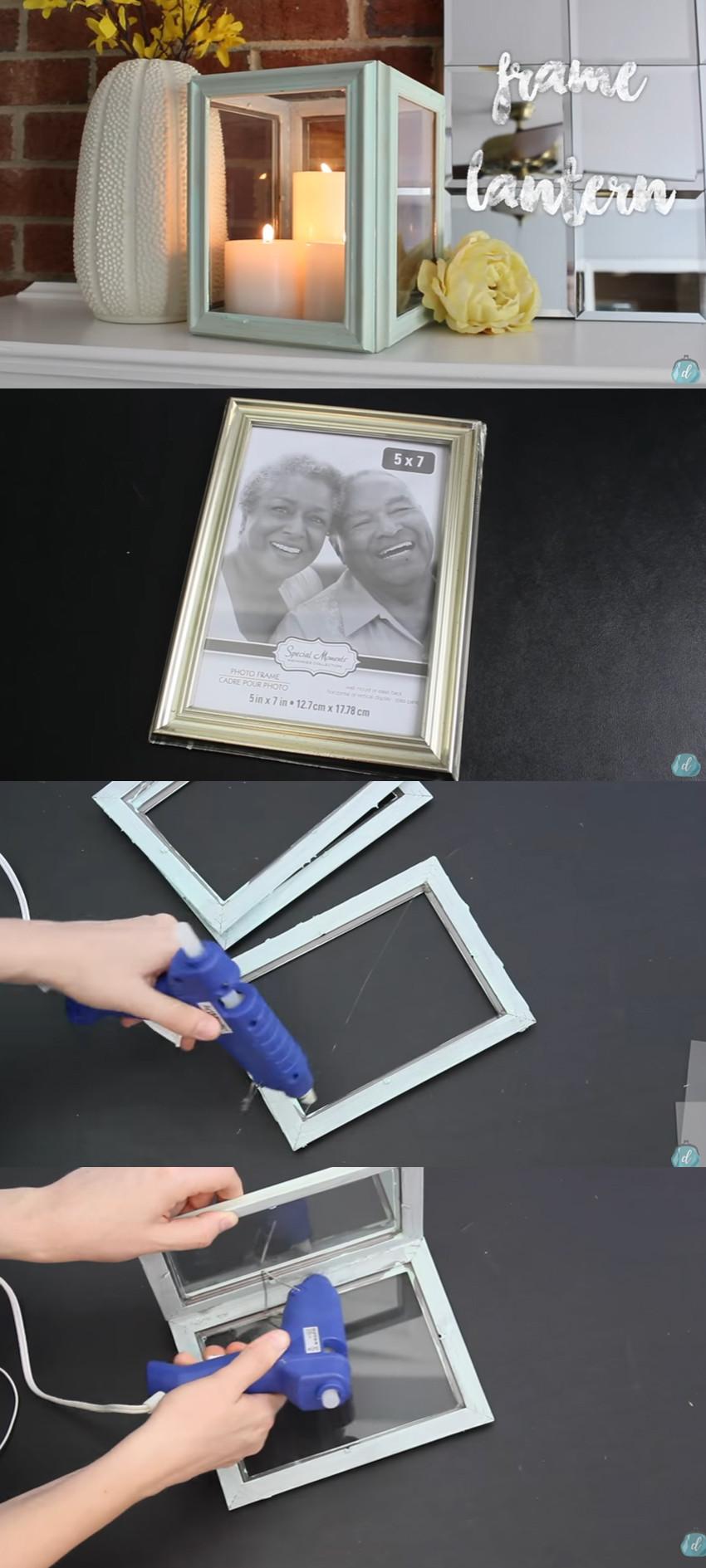 Repurposed Picture Frame Lantern