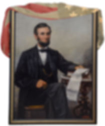 """Franklin C Courter, American, 1854-1947, Abraham Lincoln, oil on panel, 48"""" x 34"""", Lincoln Seated Holding the Emancipation Proclamation"""