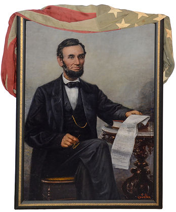 "Franklin C Courter, American, 1854-1947, Abraham Lincoln, oil on panel, 48"" x 34"", Lincoln Seated Holding the Emancipation Proclamation"