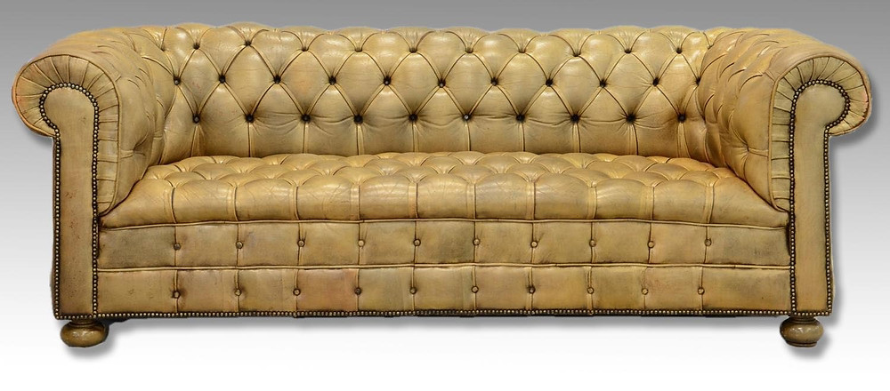 Gold Tone Chesterfield Sofa | Bunch Auctions