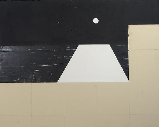 "Donald Keith Sultan, b 1951, American, Abstract Composition, Tar, Vinyl Tile, Spackling Compound on masonite, 48"" x 60"""