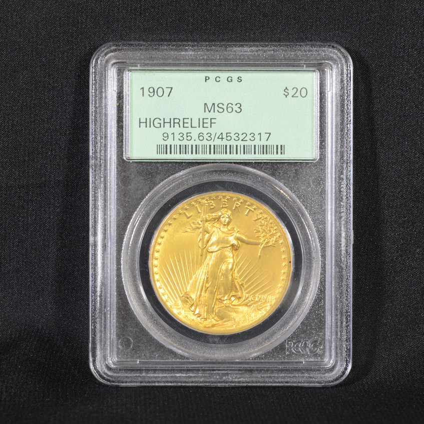 1907 St Gaudens $20 gold coin, MS63, high relief, flat edge, PCGS # 9135.62/4532317