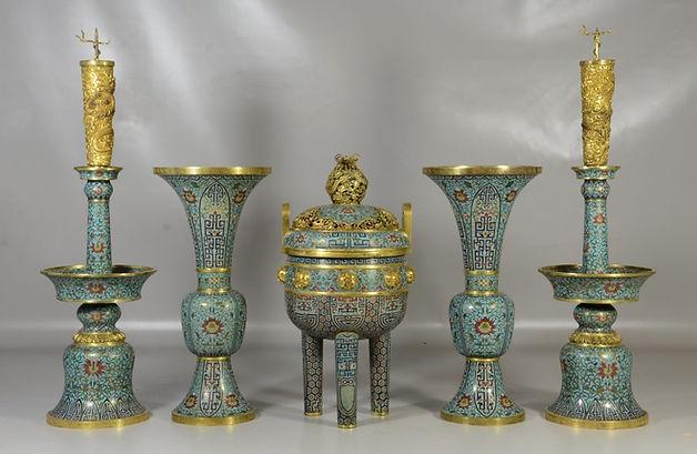 Five (5) piece Chinese cloisonne garniture set