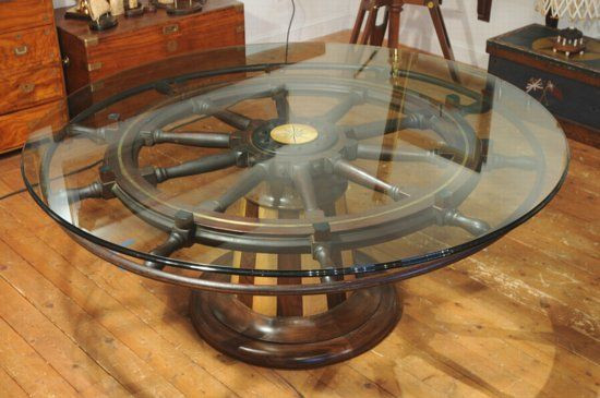 Upcycled Ship Wheel Coffee Table