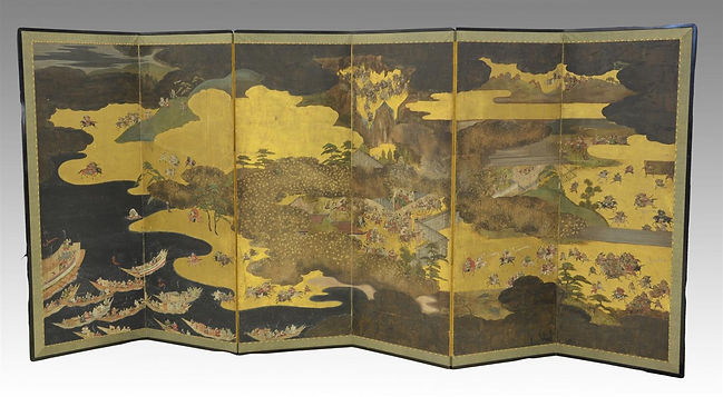 apanese Byobu 6-panel painted screen, decorated with extensive and detailed battle scenes