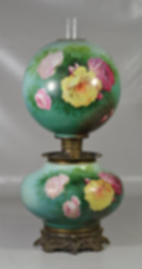Victorian Gone With The Wind Lamp with Rose Decoration