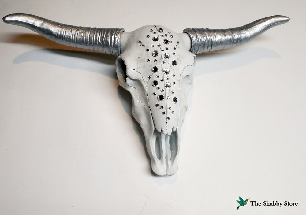 Rhinestone cow skull   Bohemian Decor   Taxidermy Art
