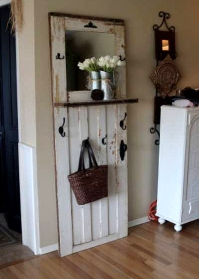 Upcycling salvaged doors | entryway rack