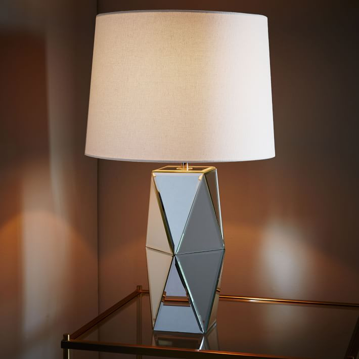 West Elm Modern Mirrored Lamp | Bunch Auctions