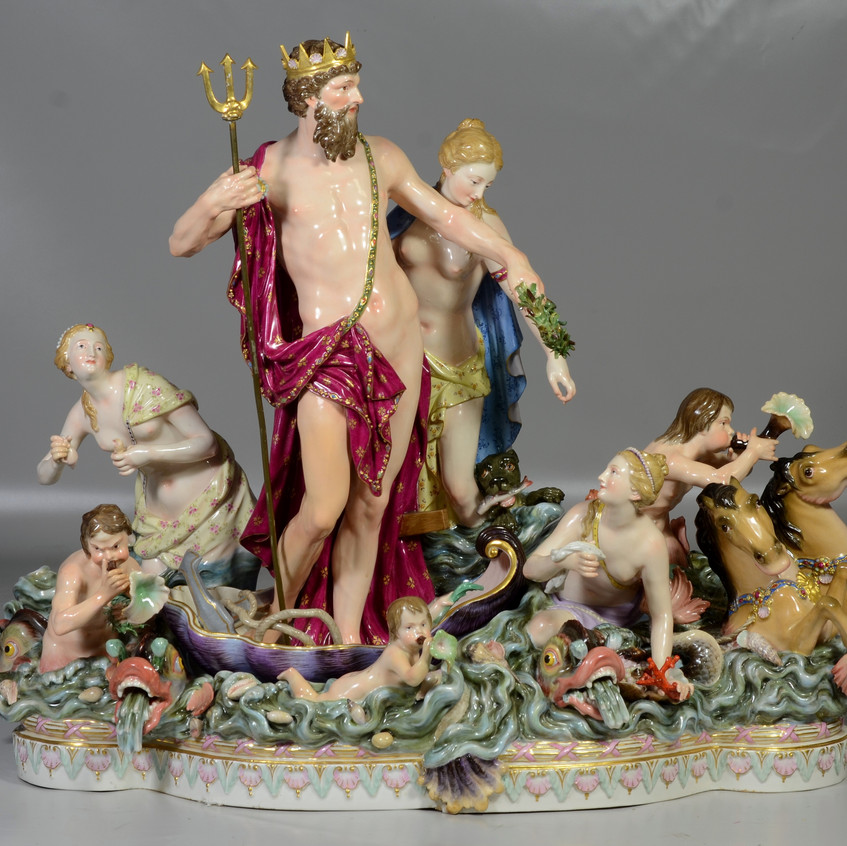Pr Meissen groupings of Neptune and Amphitrite, second half of 19th Century, Each modeled in three parts, crossed swords marks in underglaze-blue, incised No. 1 or No. 2.