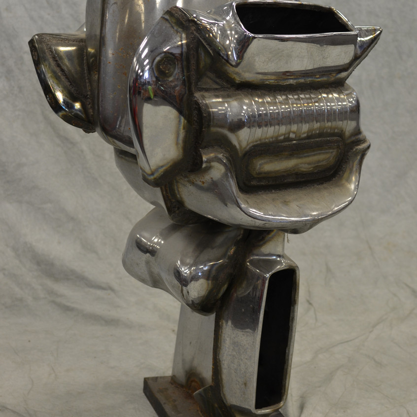 Jason Seley, 1919-1983, welded automobile parts sculpture, student of Zadkine at the Arts Students League in New York and eventually became dean of the college of Architecture, Arts and Planning at Cornell University. Sculpture has the raised weld signature SELEY and probably dates from the 1960's or 70's.