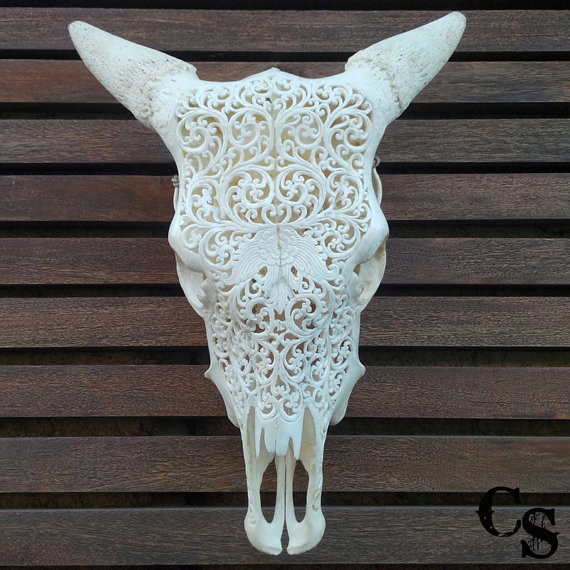Hand carved cow skull | Taxidermy art