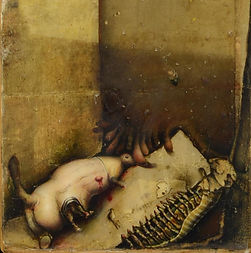Gregory Gillespie (American, 1936-2000), oil on wood, Allegorical Painting (Insects)