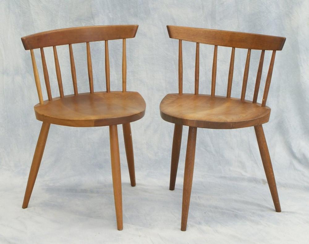 2 George Nakashima walnut 3 legged Mira chairs