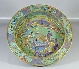 Chinese cloisonne basin with village scene