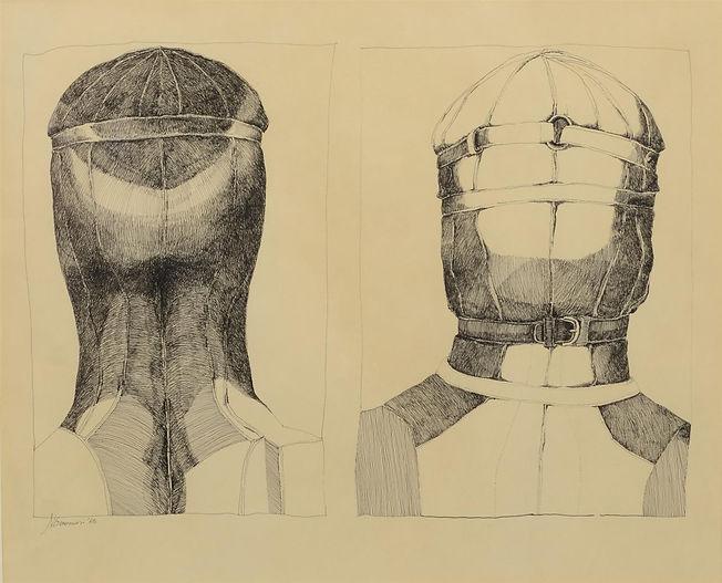 Nancy Grossman (American, b 1940) ink on paper, Two Heads