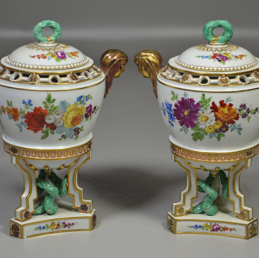 """Pr Meissen lidded sucres, floral and gilt decoration, lady head handles, turquoise serpent on each triangualr base, repair to ocrner of one base, 10-1/2"""" h, probably late 18th c"""